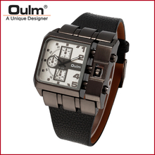 2016 New Design Luxury Brand Oulm 3364 Men's Large Square Dial Outdoor Analog Wrist Watch Leather Band For Men