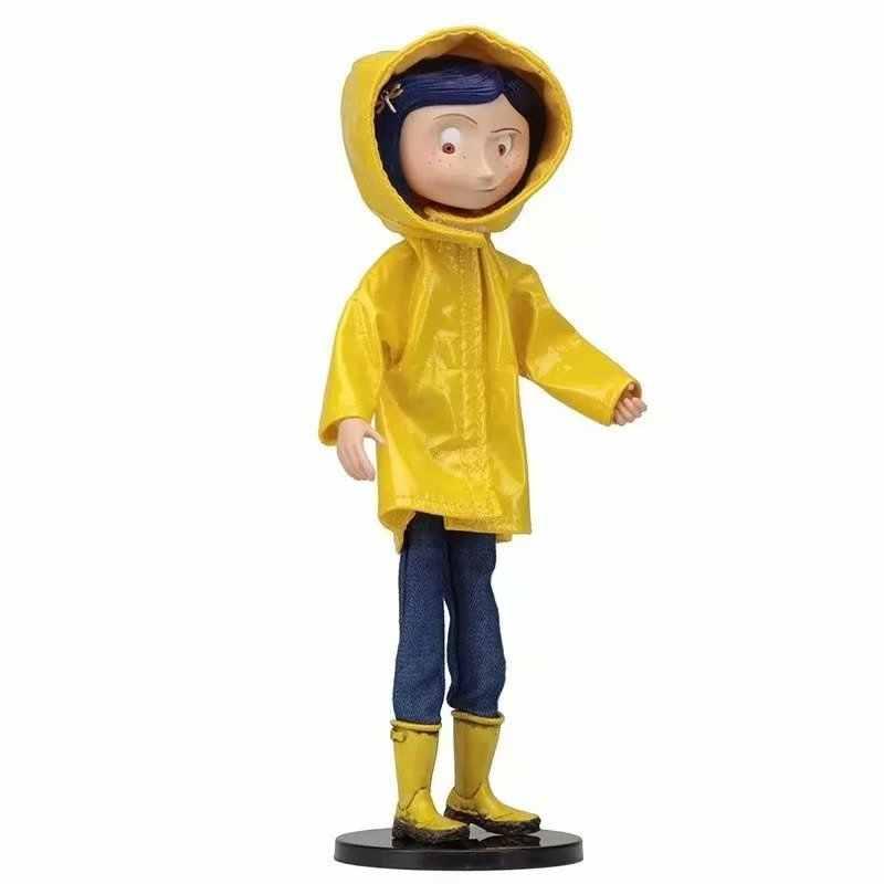 Neca amarelo capa de chuva edição coraline & a porta secreta pvc action figure collectible para crianças brinquedos presentes brinquedos