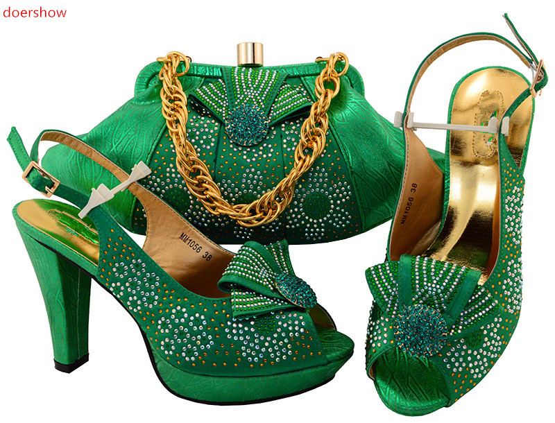 Фотография doershow green Shoes and Bag Set Decorated with Rhinestone Nigerian Women Wedding Shoes and Bag Set Italian Shoe and Bag!IU1-11