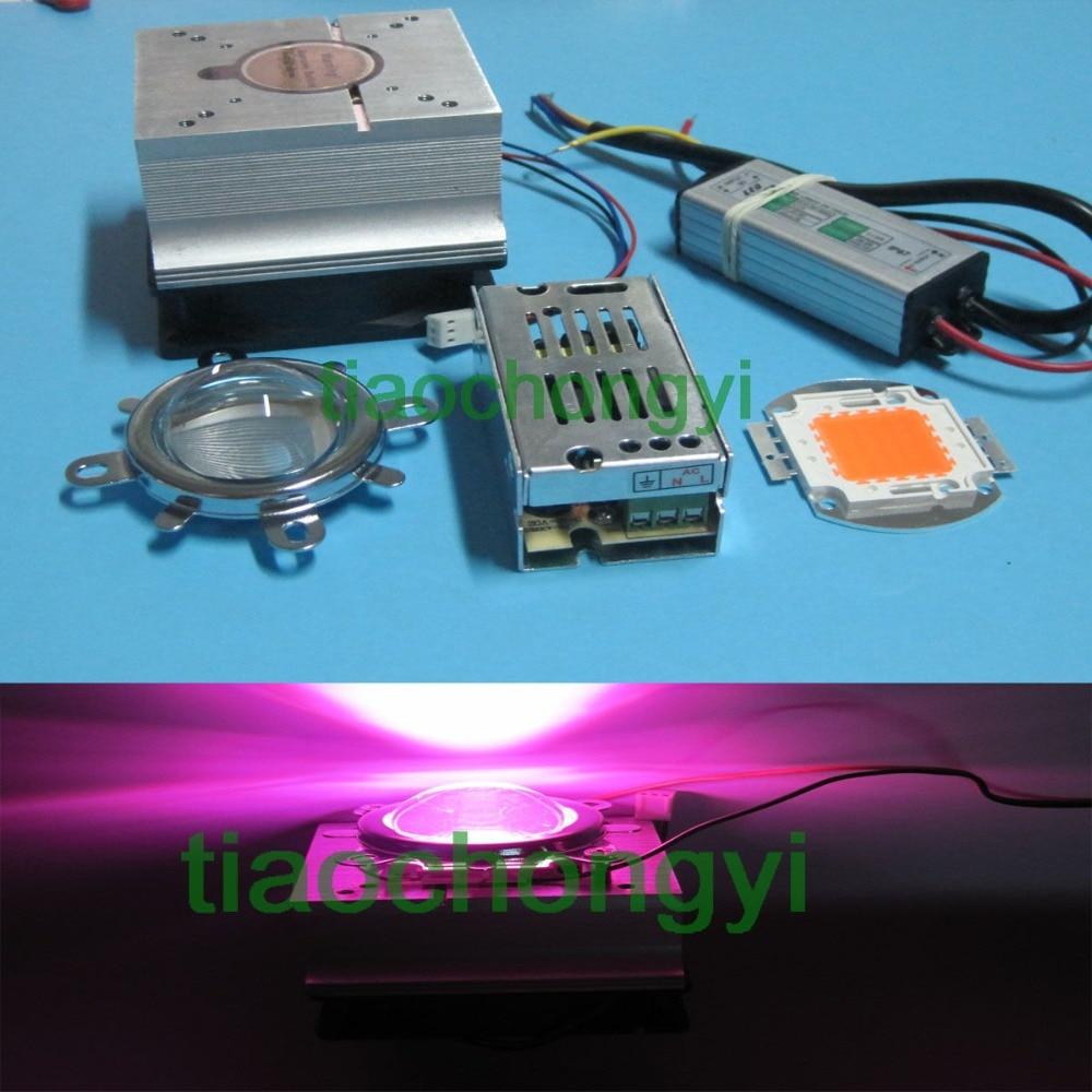 50W DIY led grow light 380-840nm chip+driver+heatsink+cooling fan +led lens 1pcs led cpu fan heatsink 44mm optical len reflector fixed bracket fan power supply for 20w 50w led grow bulb light cooling