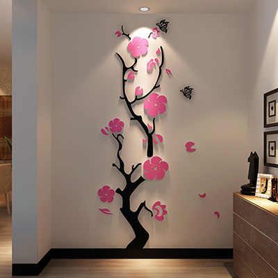 Сливовый цветок 3d акриловые зеркальные настенные наклейки для комнаты спальни DIY искусство настенный Декор Гостиная вход задний план настенные украшения