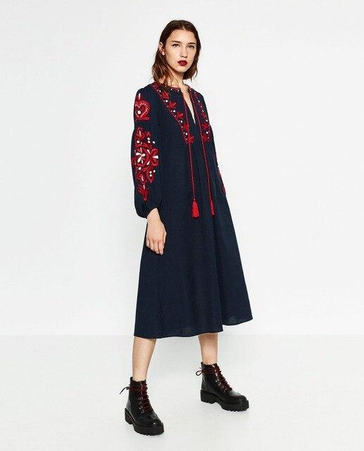 ZA Дизайнер Vestidos Де Фиеста V-образным Вырезом Темно-Красный Цвет Вышивки Фонарь С Длинным Рукавом Прямо на шнуровке Спереди Осень Midi Dress