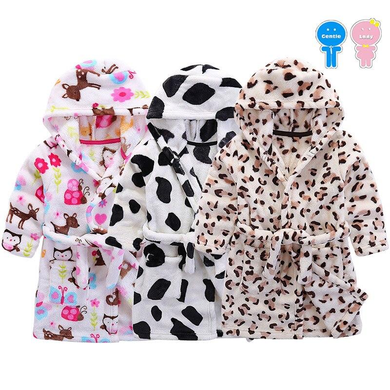 Spring Winter soft velvet cartoon flannel boy sleepwear girls hooded bathrobe kid nightwear baby home cloth children pajama 3-6Y