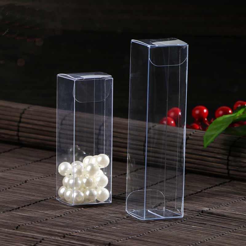 20pcs/lot  Large plastic cosmetic packaging box, long clear pvc box packaging,Plastic Folding pvc Boxes Party Favors Long PVC