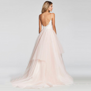 Image 2 - LORIE A Line Wedding Dress 2019 New Arrival Vestido De Noiva Simple Bridal Dress Puffy Tulle Beach Wedding Dresses Lace Top
