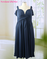 Navy Blue Bridesmaid Dress Plus Size Special Off The Shoulder Long Chiffon Girl Party Dresses Vestido