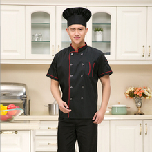 Wholesale Hotel Restaurant Chef Clothing Short Sleeve Men and Women Kitchen Black Uniforms Chef Coats Jackets Free Shipping