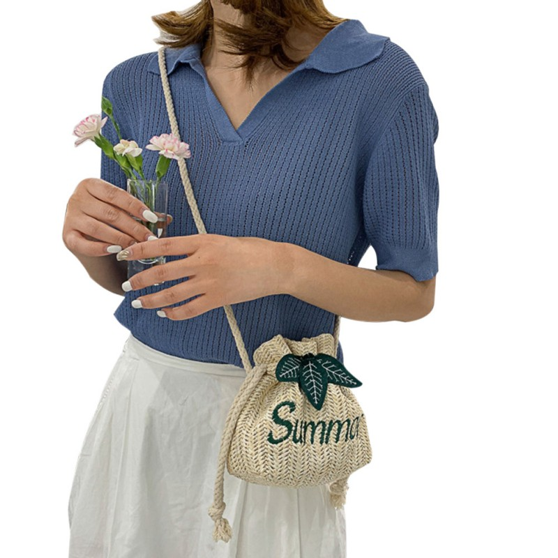 Women's Woven Drawstring Bag Drawstring String Straw Weave Messenger Bag English Embroidered Word Shoulder Bag