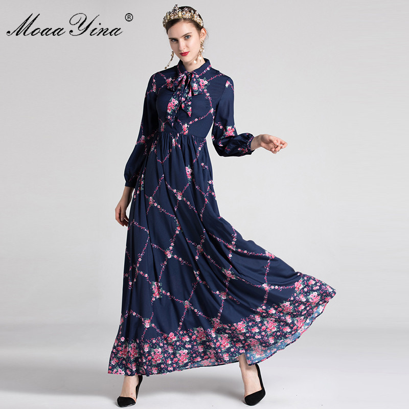 MoaaYina Fashion Designer Runway Dress Autumn Women Long sleeve Turn down collar Bowknot Floral Print Slim