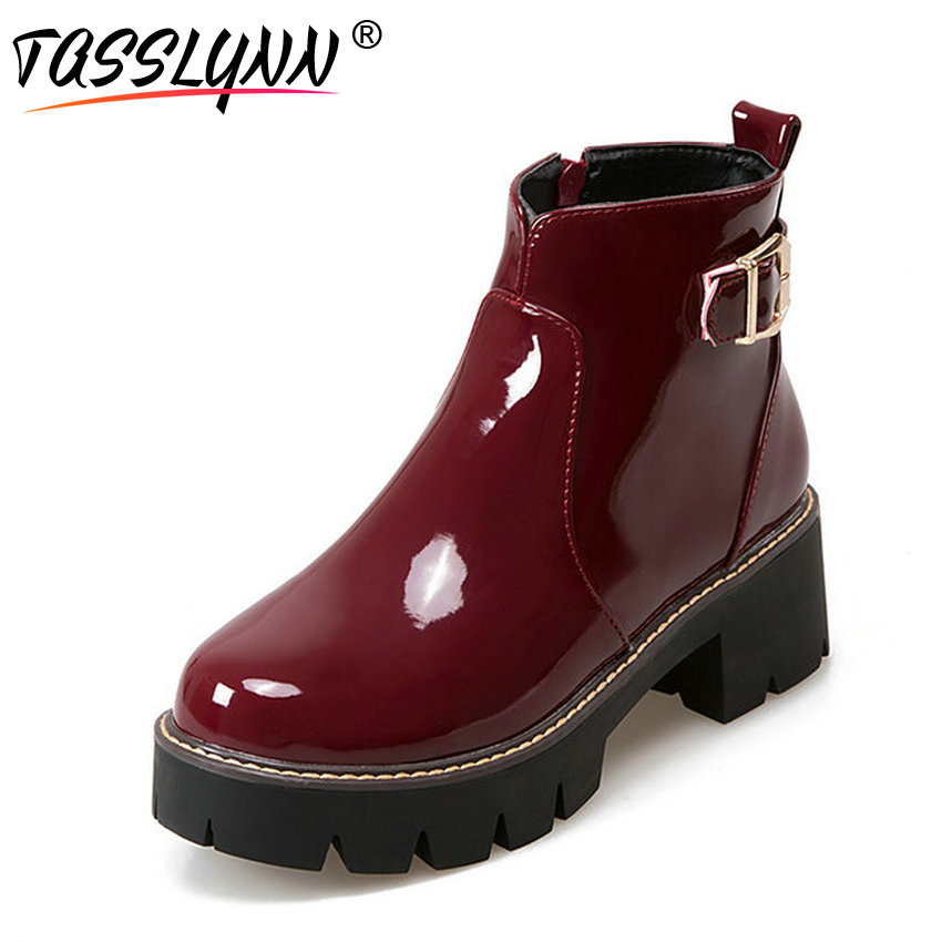 TASSLYNN 2018 Women Ankle Boots Buckle Patent Leather Round Toe Riding Boots Winter Square Med Heel