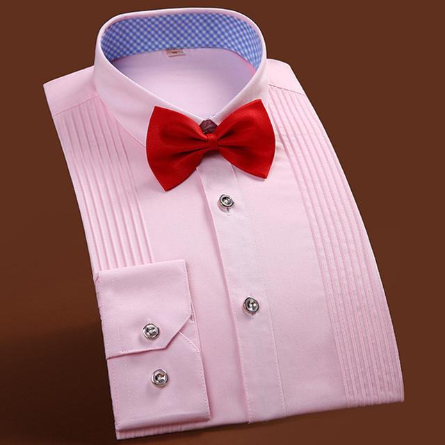 Smoking de los hombres Camisa de Color Sólido Camisa de Manga Larga Camisas de Hombre del banquete de Boda Blanco Azul Rosa Marca pajarita camisa 4XL