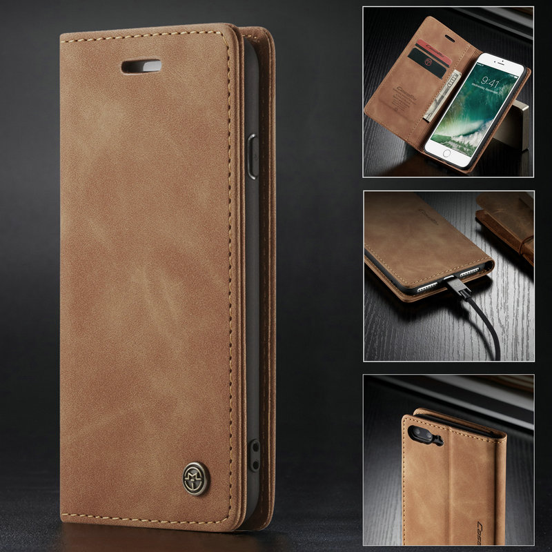 uk availability cdfcd b3661 CaseMe Retro Wallet Case For iPhone 7 8 6s Plus Magnetic 360 Leather Credit  Card Money Slot Back Cover For iPhone xs max xr Case