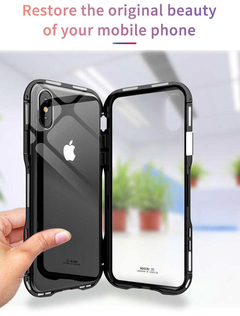 For iPhone X Magnetic Adsorption Cases Shockproof Metal Bumper (7)