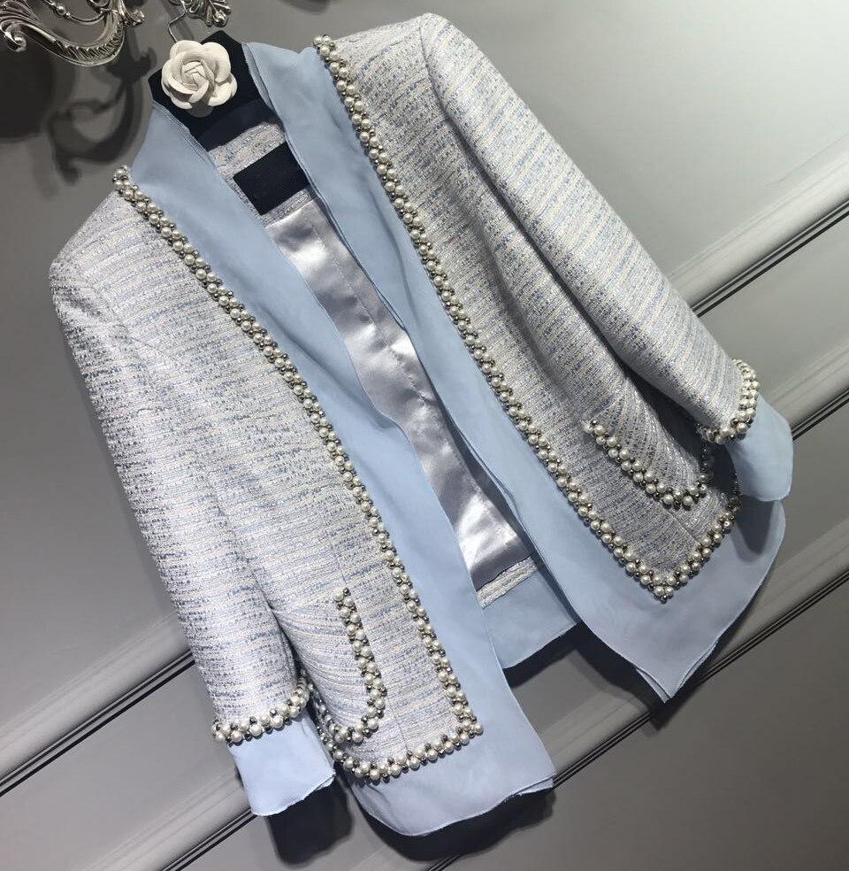Удивительные сращены жемчуг куртка Большие размеры Модные casaco, 5XL 6XL уточнение куртка, женские элегантные Chaquetas, твид Chaquetas Mujer