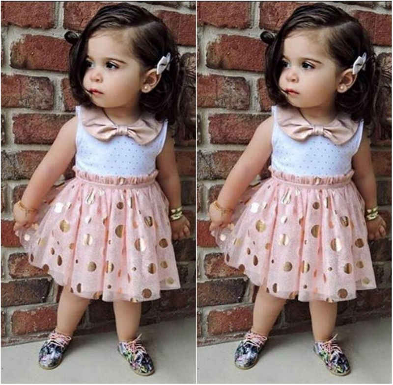 2016 New Summer Cute Baby Kids Girls Princess Bow tie  Pink Polka Dot Sequins Tulle Tutu Casual Summer One-pieces Dress