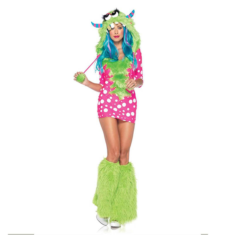 Melody Monster Costume Adult Animal Cosplay Halloween Costume Women 2 Piece Melody Monster Dotted Dress with Furry Monster Hood