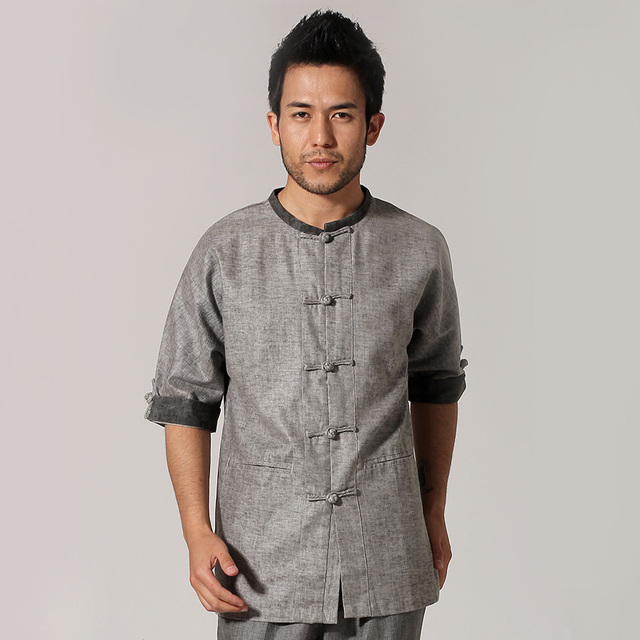 Gray Chinese Men Cotton Shirt Kung Fu Tai Chi Shirt Casual Short Sleeve Summer Tops M L XL XXL XXXL  MN059