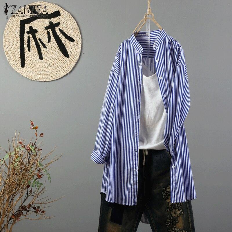 Blusas ZANZEA Women Striped Blouse 2018 Auumn Long Sleeve Buttons Shirt Casual Stand Collar Work Office Stripes Top Plus Size
