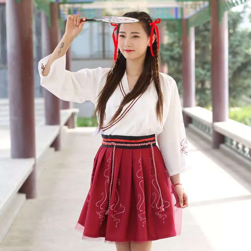 Summer Woman Japanese Traditional Dress Embroidery Ancient Fashion Kimono Girls Japanese Style Clothes Outfits Lace Up Skirt 8