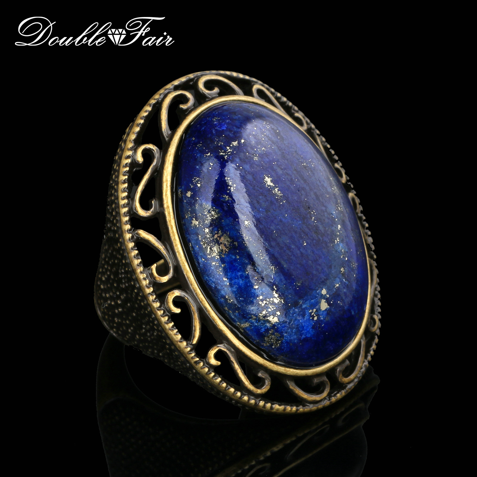 Semi-precious Stone Lapis Lazuli Ring Antique Gold/Silver Color Fashion Brand Vintage Jewelry Rings For Women Wholesale DFR390M