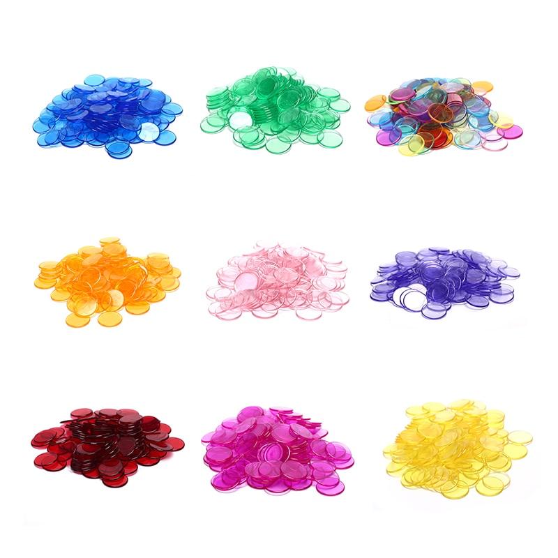 100pcs Count Plastic Poker Chips Casino Carnival Bingo Markers Token Fun Family Club Board Games Toy Creative Gift 8 Colours