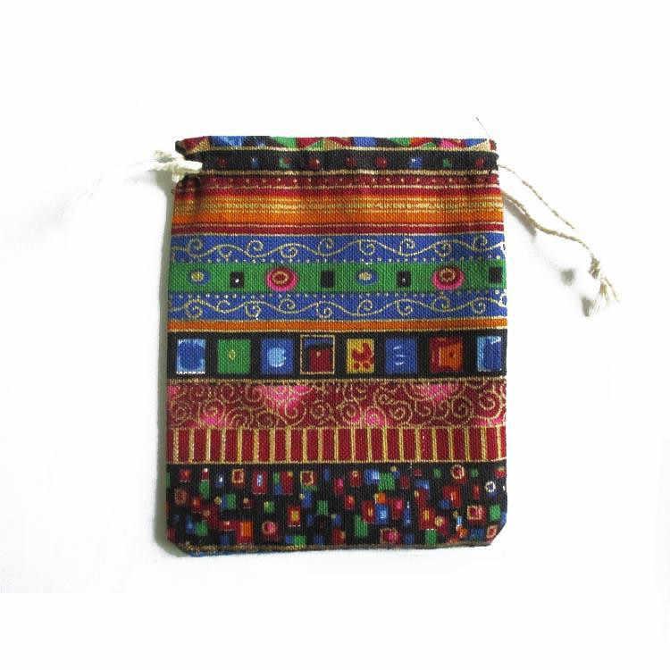 Gran oferta mezcla étnica 4 Uds 9,5 cm * 12cm bolsas de regalo para accesorios cuentas Multicolor Tribal algodón cordón bolsas para joyas