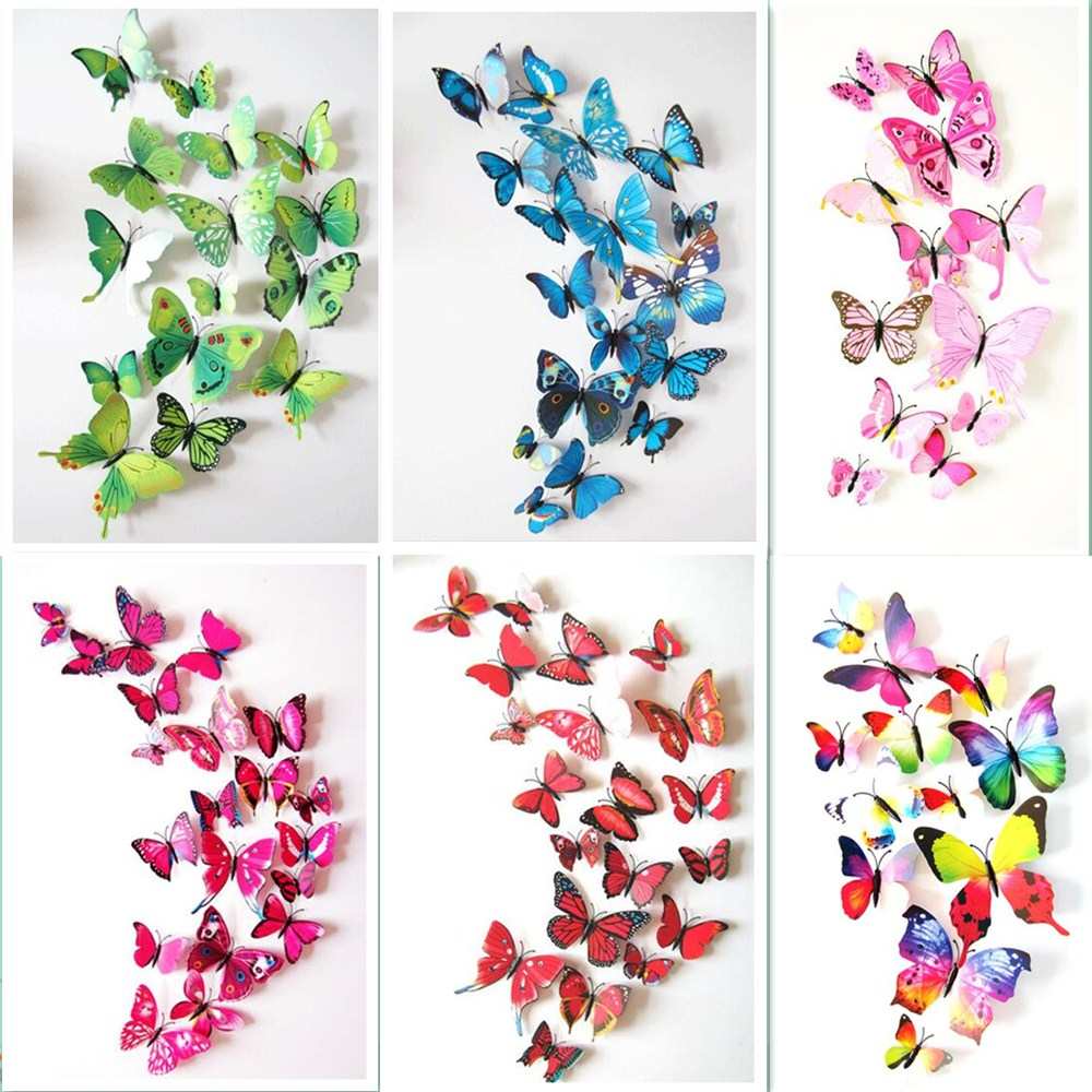 12pcs/lot 3D Magnet Butterfly PVC Wedding Home Party Decorative DIY Kids Room TV Kitchen Fridge Stickers