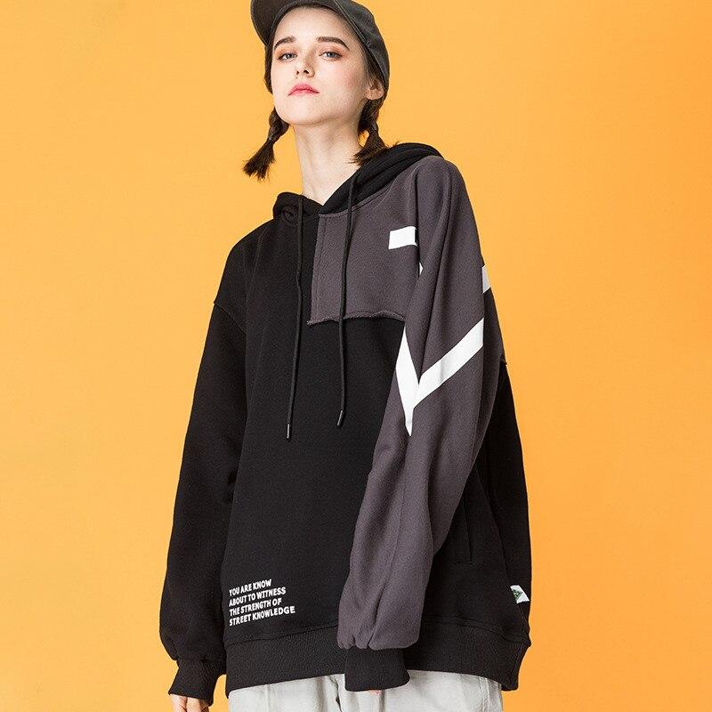 Japonais Harajuku contraste couleur Streetwear à capuche pour les femmes urbain fille Patchwork esthétique imprimé sweats à capuche surdimensionné