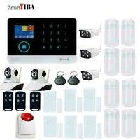 SmartYIBA Аварийная сигнализация wifi gsm видеонаблюдения стробоскоп сирена окна, двери открыть движения обнаружения дыма IP CamiOS приложение для ...