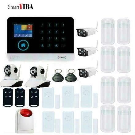 SmartYIBA système d'alarme sans fil gsm de Sécurité Surveillance Stroboscopique Sirène Fenêtre Porte Ouverte Mouvement Fumée Détection IP CamiOS Android APP