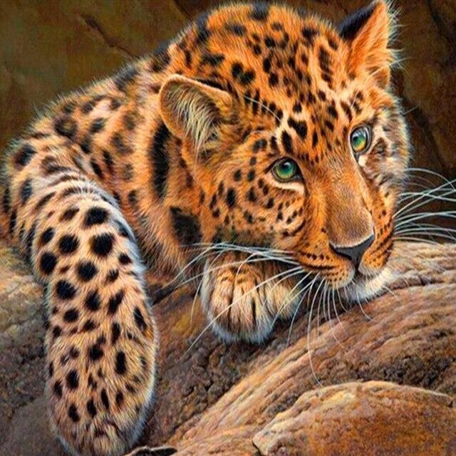 Bordado de diamantes animal el diamante Jaguar peinture diamante ...
