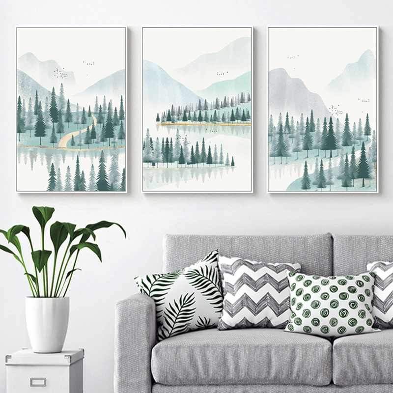 Modern Minimalist Forest And River Poster Landscape Painting Print Canvas Painting Picture Home Wall Art Decoration Custom