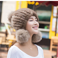 Marten hat female mink hair thickening earmuffs knitted fox fur ball leather strawhat