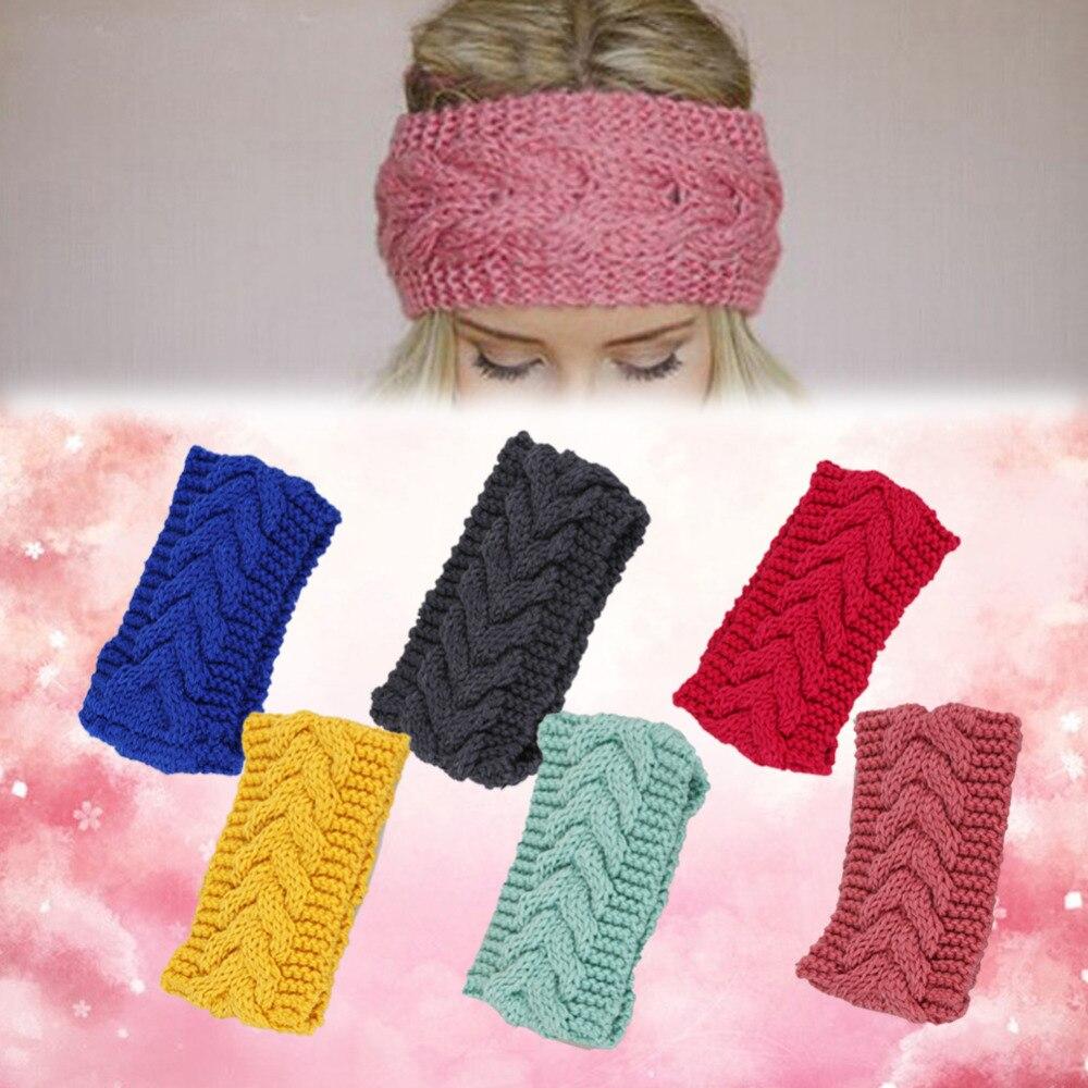 Широкая трикотажная повязка на голову Женская мода аксессуар для волос уютный зимний чулок писака кабель вязать уха Теплее