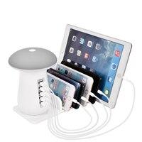 Cogumelo Luz CONDUZIDA Da Noite Lâmpada de Mesa com 5 Portas Viajar Carregador USB de Carregamento de Estações de Energia Para smartphones iPhone iPad Samsung