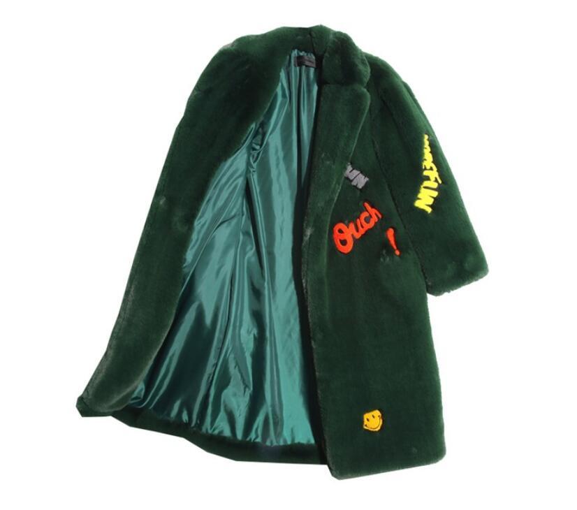 Verde negro Delgado Hip Hop Mujer Largo Nuevo Camel Fur Rabbit Suelta  Invierno negro verde Moda ... cd362fa01a6