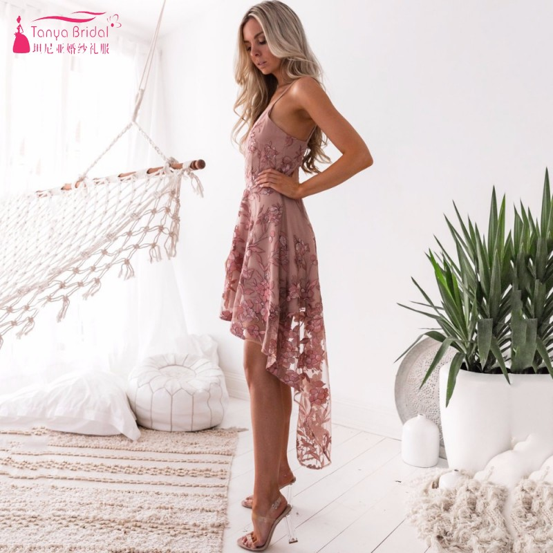 Vintage Short Front Long Back High Low Embroidery Homecoming Dresses 2019 In Stock Cheap Party Dress Cocktail Gowns DQG393
