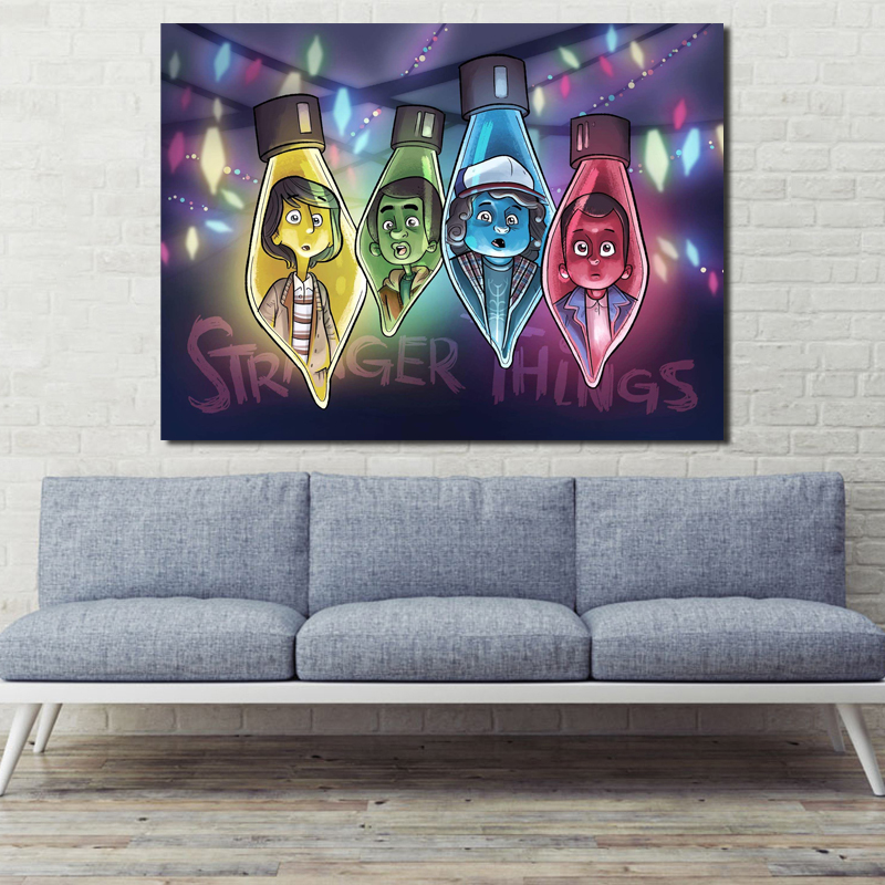 Stranger Things Christmas Lights Wallpaper HD Canvas Posters Prints Wall Art Painting Oil Decorative Picture Bedroom Home Decor in Painting Calligraphy from Home Garden