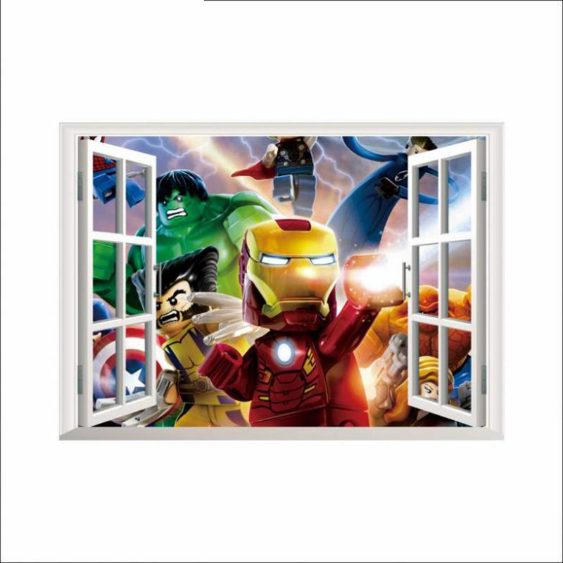 Marvel IRON MAN 3DFake Window Wall Stickers For Kids Room Bedroom Accessories Movie Mural Art Poster Lego Wall Decals Home Decal in Wall Stickers from Home Garden
