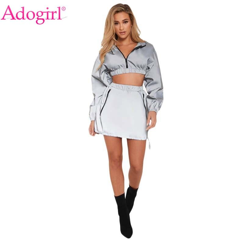 Adogirl Women Reflective Tracksuit Zipper Long Sleeve Hooded Sweatshirts Crop Top + Pockets Mini Skirt Night Version 2 Piece Set