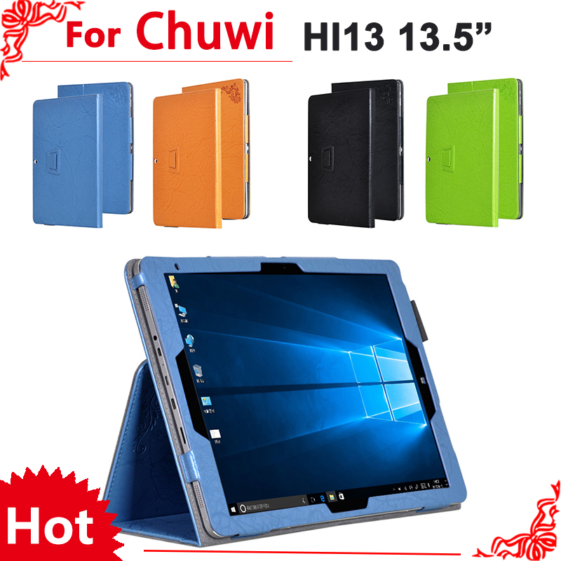 high quality Print PU Leather Protective Folding Folio Case for CHUWI Hi13 for 13.5'' Tablet PC Cover Case + Free 2 gifts