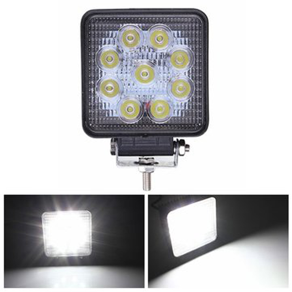 2x Square 27W Flood LED Work Lights Bar Driving Off-road Truck 4WD Construction
