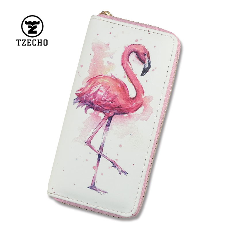 TZECHO Women's Wallets With Phone 7 and 8 Plus PU Cartoon Flamingos Ladies Clutch Zipper Purses Long Rfid Cards Holder for Gift