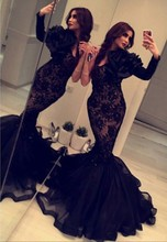 2015 Arabian Design Black One Shoulder Flower Long Sleeve Lace Mermaid Ruffled Prom Dresses