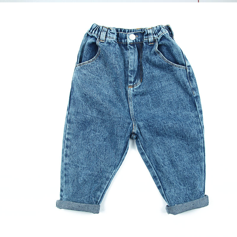 Unisex Baby Jeans  Autumn New Arrival Korean Denim Pants for Girls Toddler Boys Harem Pants  Elastic Waist Casual Kids Trousers(China)