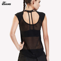 BINAND Women Hollow Mesh Quick Dry Sports Vest Fitness Training Short Sleeve T Shirts Gym Fitness