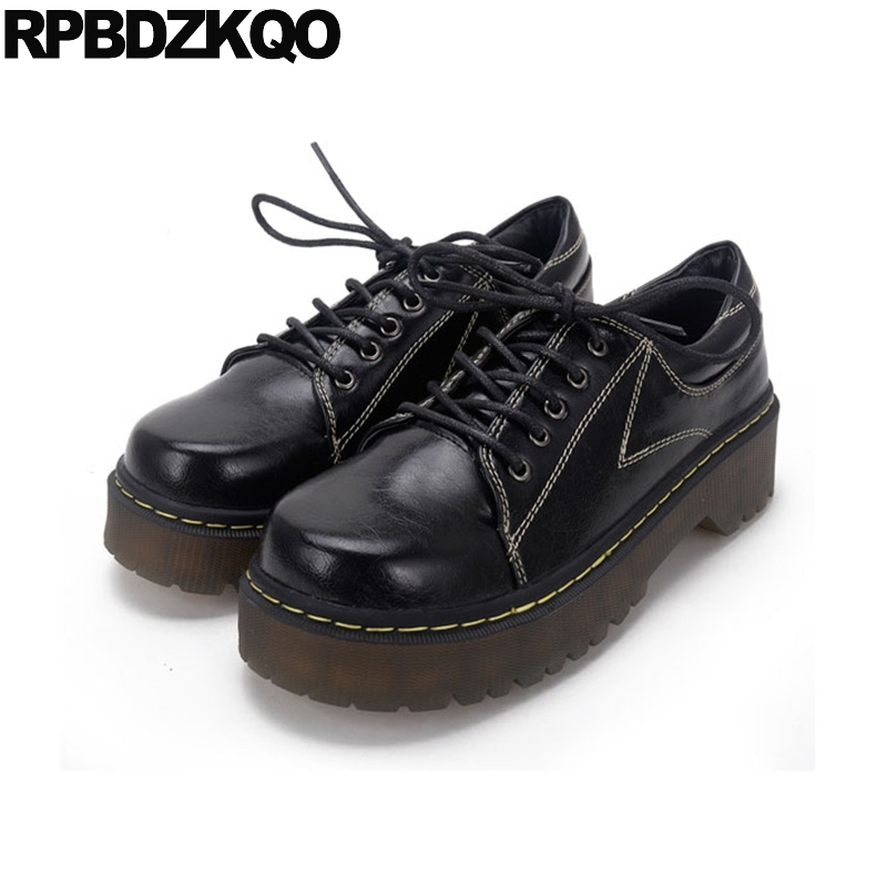 Creepers Elevator Japanese Vintage Women Oxfords Shoes Harajuku Flats Footwear Lace Up Platform Designer Muffin Thick Sole