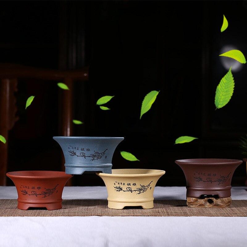Style chinois Mini Bonsaï Pots Violet Pots de Fleurs en Argile À La Main groot pots de fleurs d'intérieur De Bureau Succulente jardinières