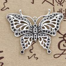 2pcs Charms hollow butterfly 60x48mm Antique Making pendant fit,Vintage Tibetan Silver,DIY bracelet necklace(China)
