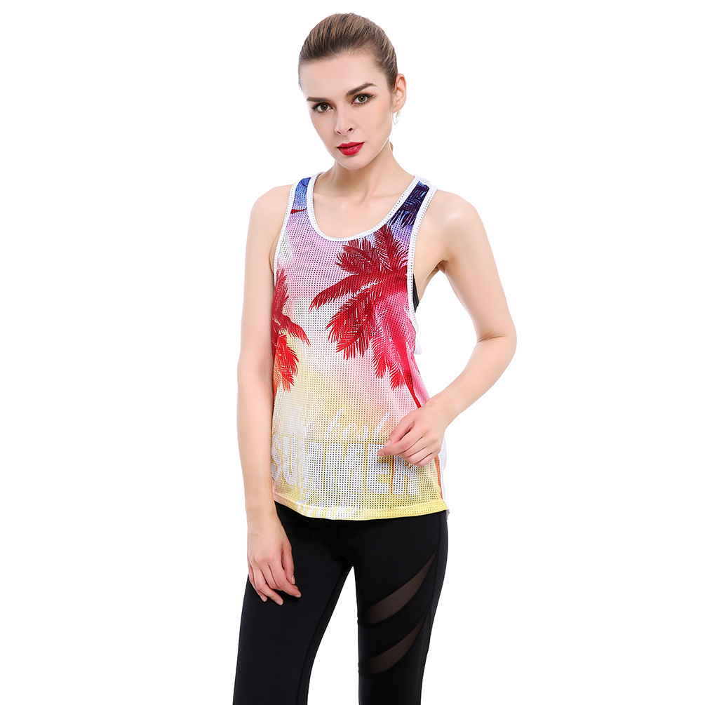 Maple Leaf Racerback Tank Womens Fitness Top Fishnet Sleeveless Long Tanks Quick Dry Scoop Neck Tank Tops T8805